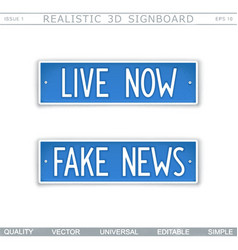Live now fake news signboard stylized car licens vector