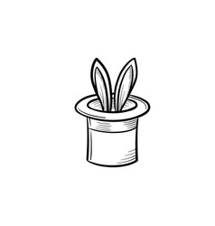 Magician hat with rabbit hand drawn sketch icon vector