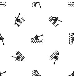 male athlete in a canoe pattern seamless black vector image