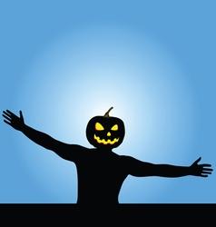Man with pumpkin head silhouette vector