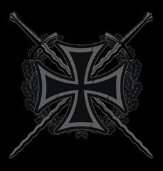 Medieval heraldic emblem design iron cross vector