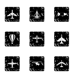 Military aircraft icons set grunge style vector