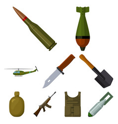 military and army set icons in cartoon style big vector image