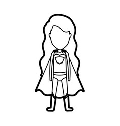 Monochrome thick contour of standing faceless girl vector