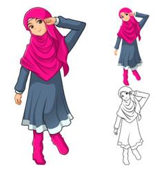 Muslim Girl Fashion Wearing Pink Veil or Scarf vector