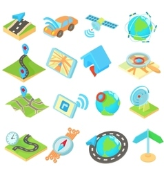 Navigation icons set isometric 3d style style vector