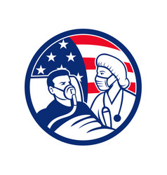 Nurse caring for covid-19 patient usa flag circle vector