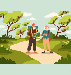 old people tourist walk happy active elder vector image