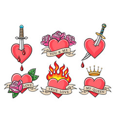 Old school heart tattoo set vector
