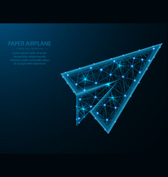 paper airplane low poly design flight up in vector image