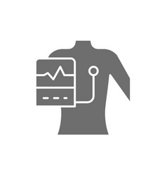 People with a cardiogram heart pacemaker grey vector
