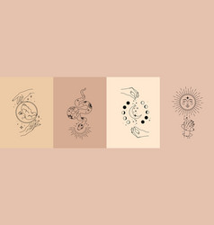 poster set mystical magic objects- woman vector image