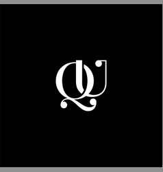 Q u letter logo creative design on black color vector