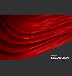 Red silk fabric isolated on gray background vector