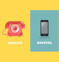 retro phone in analog age and modern phone in vector image