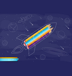 rocket colorful crayons flat style vector image