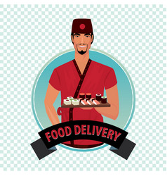 round icon on white background with food courier vector image
