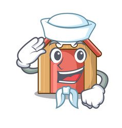 sailor cartoon funny dog house with dish vector image