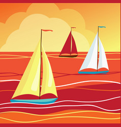 sails in sea vector image