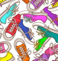 seamless pattern sneakers vector image