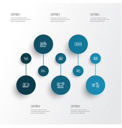 search icons line style set with startup online vector image