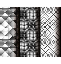 Set geometrics figures in grey patterns vector