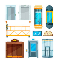 Set of different modern glass elevators vector