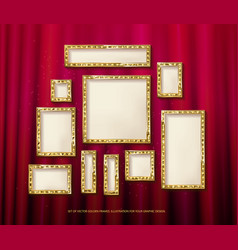 set of gold frames cinema vector image