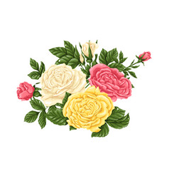 Set of pink yellow and white roses bouquets vector