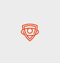 shield eye logo design protection security vector image