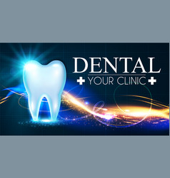 shining helthy tooth with motion lights frech vector image