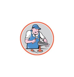 Shoemaker With Hammer Shoe Circle Cartoon vector