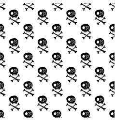 skulls and bones seamless pattern cute doodles vector image