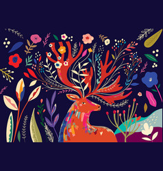 spring deer vector image