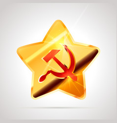 star shaped bright glossy golden badge icon vector image