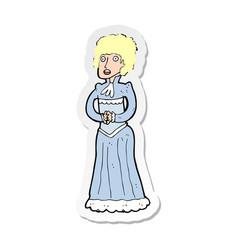 Sticker of a cartoon shocked victorian woman vector