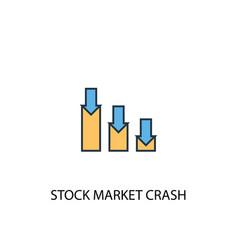 stock market crash concept 2 colored line icon vector image