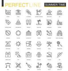 summer time thin line web icons set vacation vector image