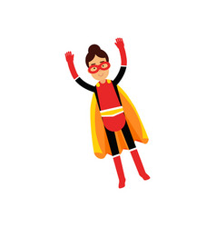 superhero teen girl in orange cape flying vector image