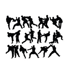 taekwondo and karate silhouettes vector image