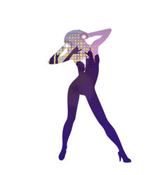 The dancing girl silhouette in nightclub vector