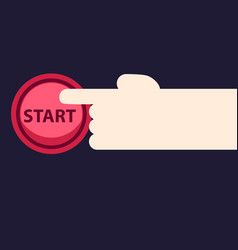 the hand presses the start button vector image