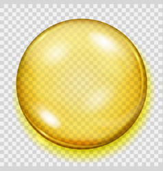 Transparent yellow sphere with shadow vector
