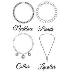 Types of necklaces outline vector