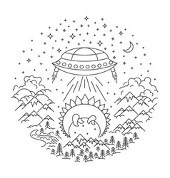 ufo stealing banner vector image