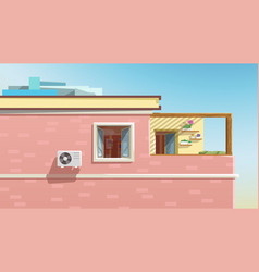 View on apartment through window red building vector