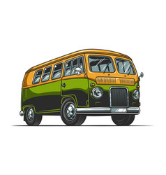 Vintage colorful hippie bus template vector