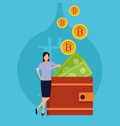 Wallet virtual cryptocurrency vector