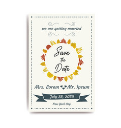 wedding save the date invitation card with white vector image