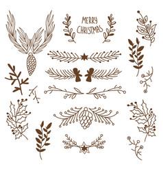 Winter floral sketch template vector